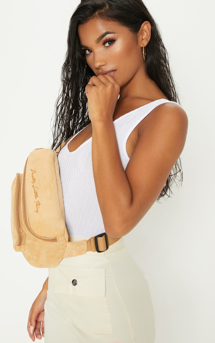PRETTYLITTLETHING Beige Embroidered Faux Suede Bum Bag 2