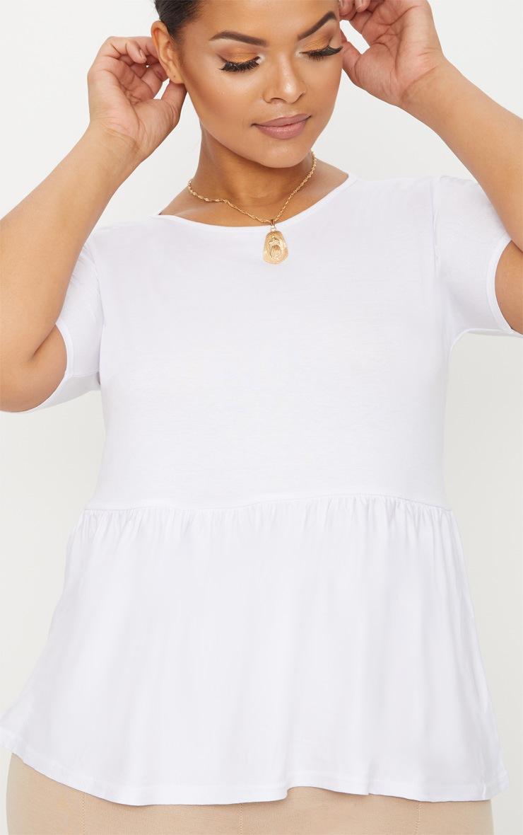 Plus White Frill Hem T Shirt 5