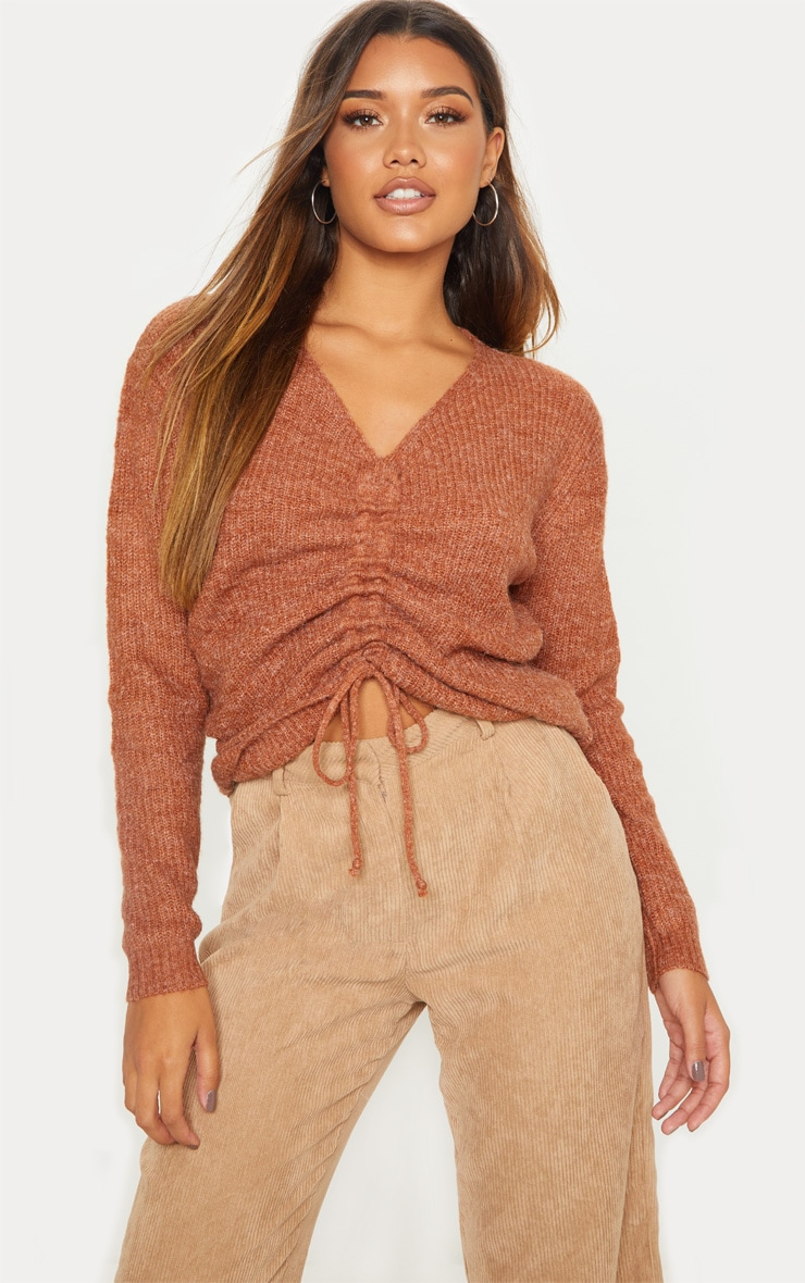 Rust Ruched Front Sweater 1