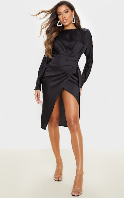 Black Satin Wrap Skirt Backless Midi Dress