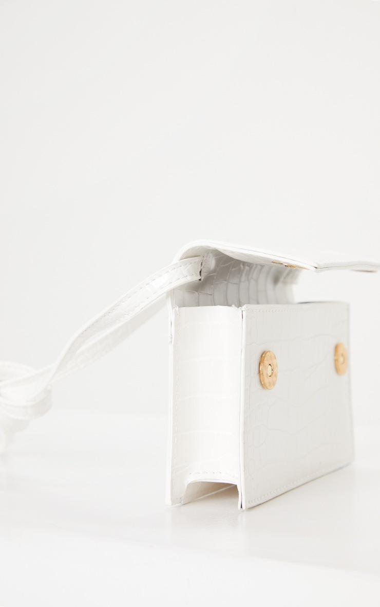 White Pu Croc Cross Body Bag 3