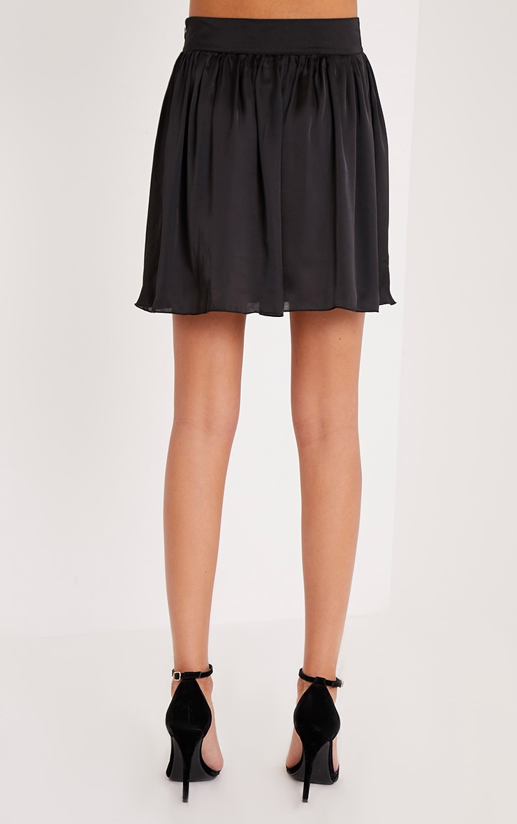 Ostara Black Floaty Satin Mini Skirt 5