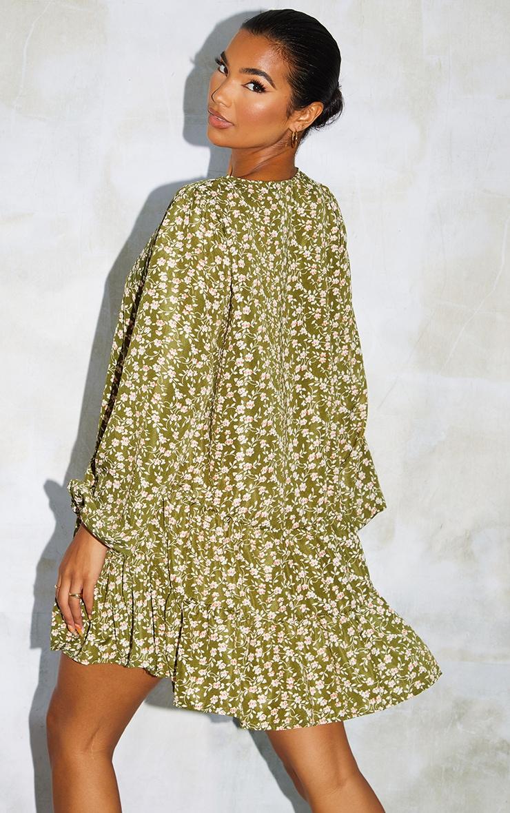 Green Print V Neck Tiered Balloon Sleeve Smock Dress 2