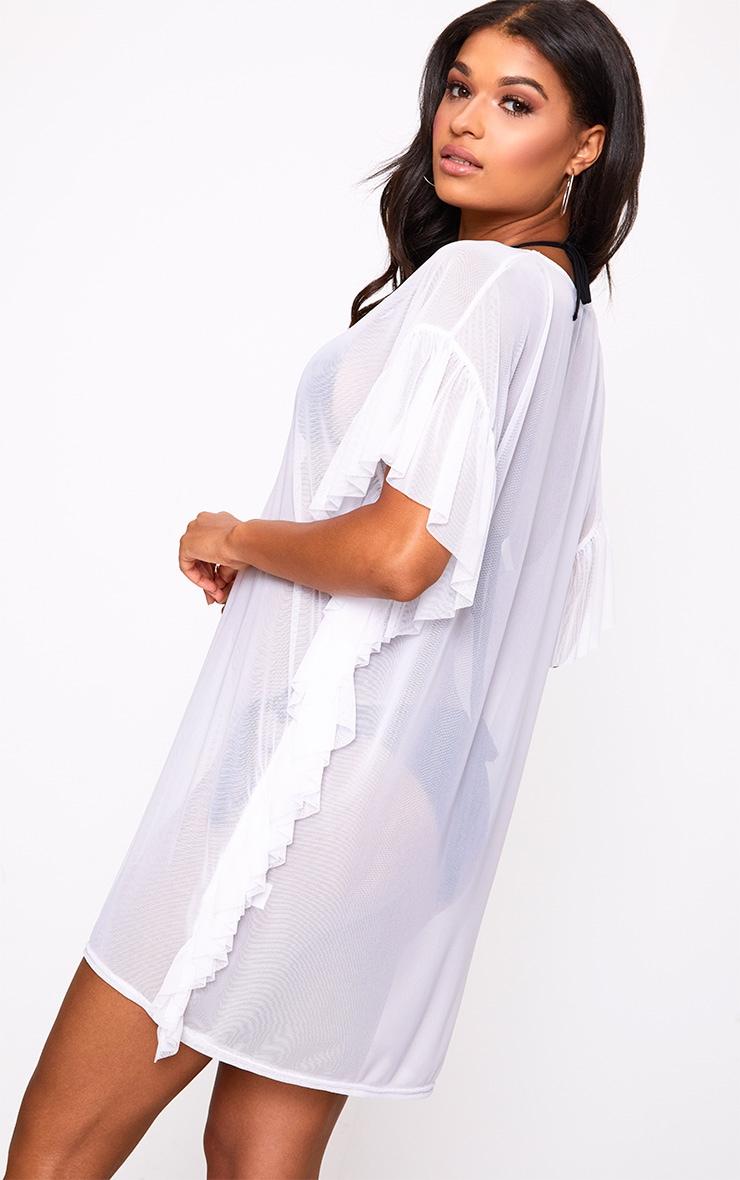 White Mesh Frill Deep Plunge Beach Cover Dress 2