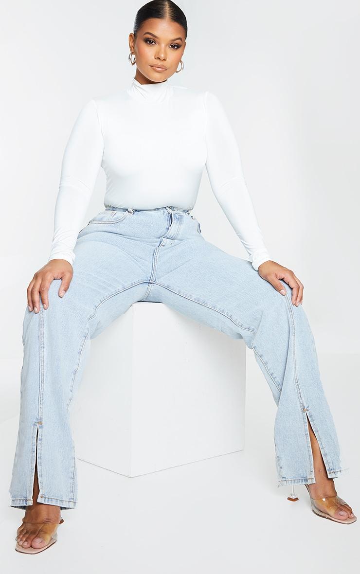 Plus Light Blue Wash Seam Detail Split Front Jeans 1