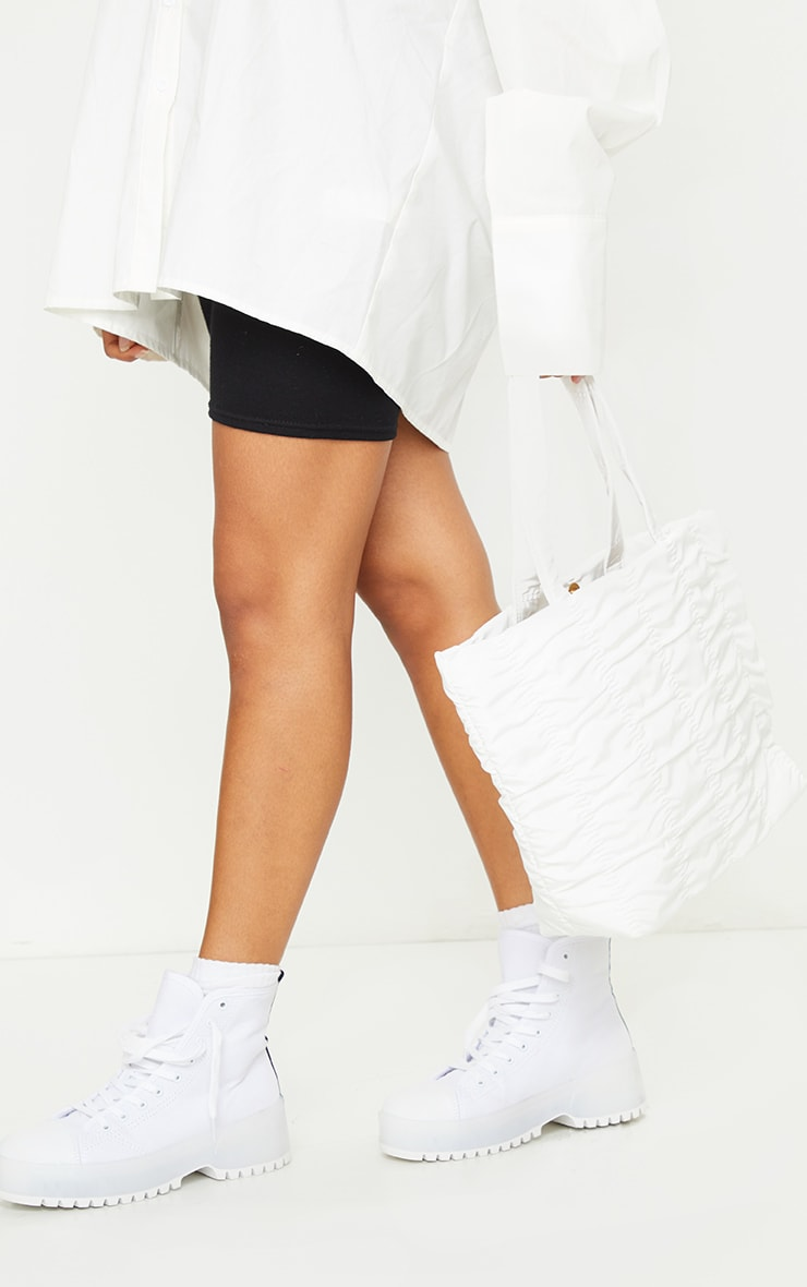 White Ruched Tote Bag 1