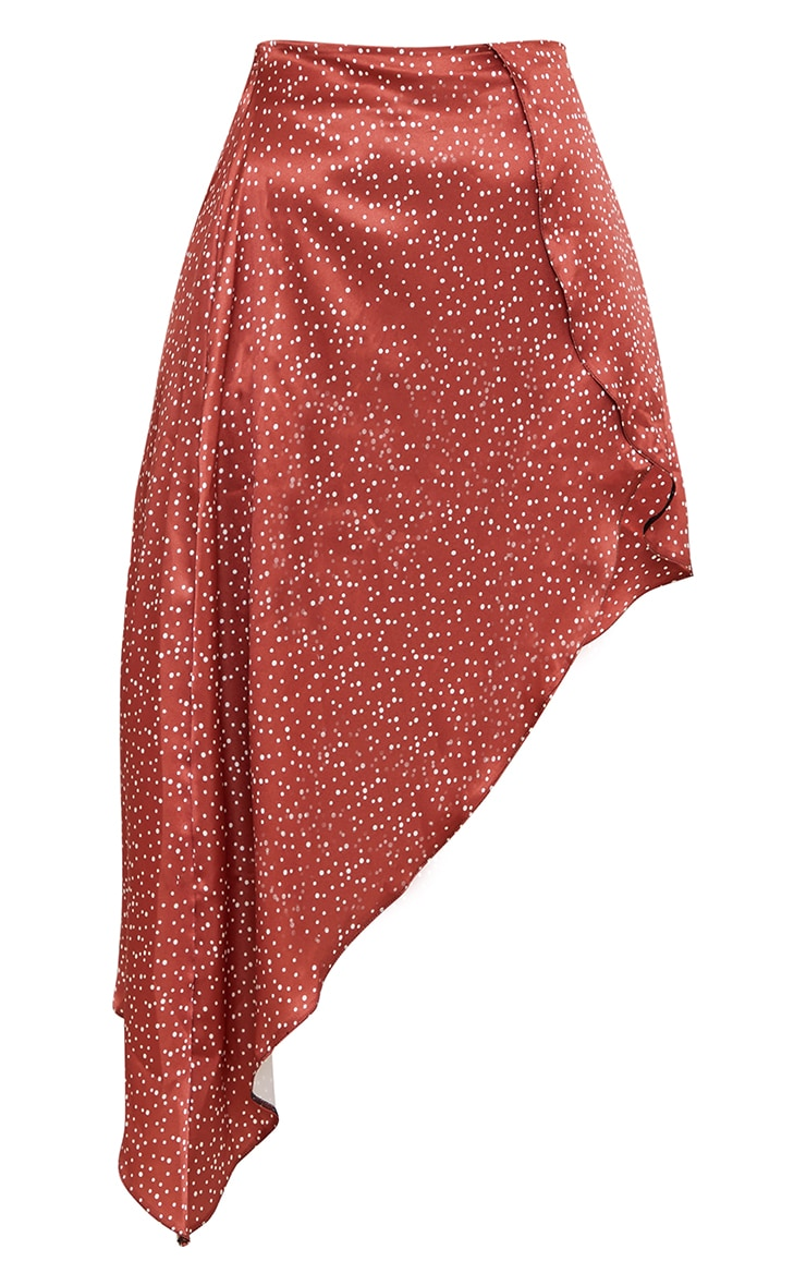 Rust Polka Dot Satin Asymmetric Skirt 5