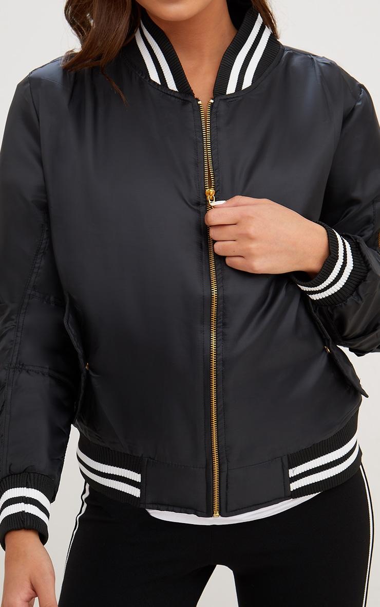 Black Sports Trim Bomber Jacket 5