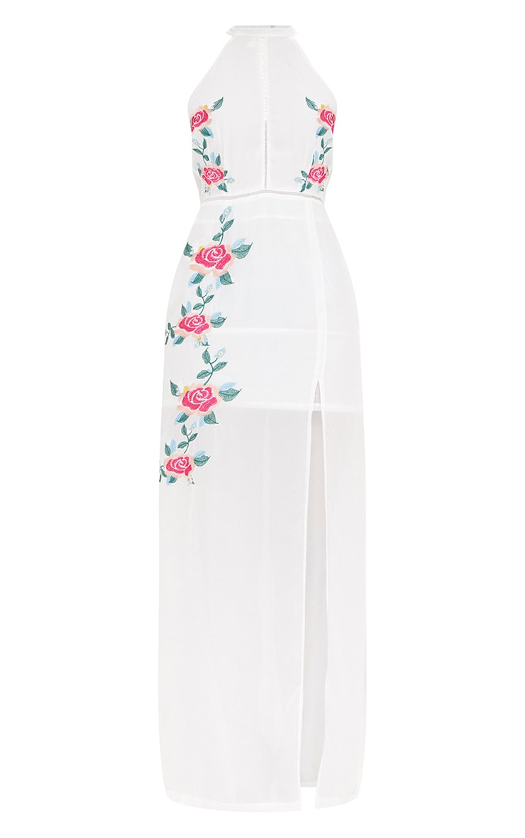 White Floral Embroidered Maxi Dress 3