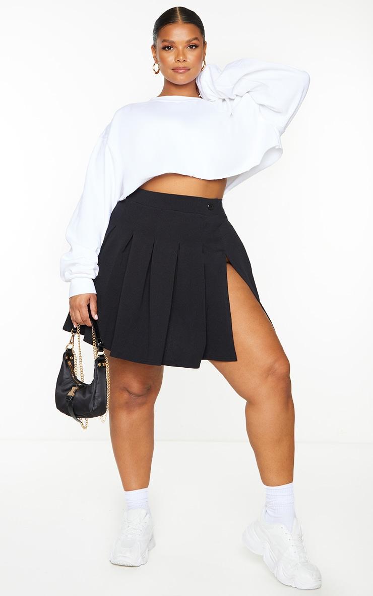 PLT Plus - Jupe de tennis noire plissée & fendue 1
