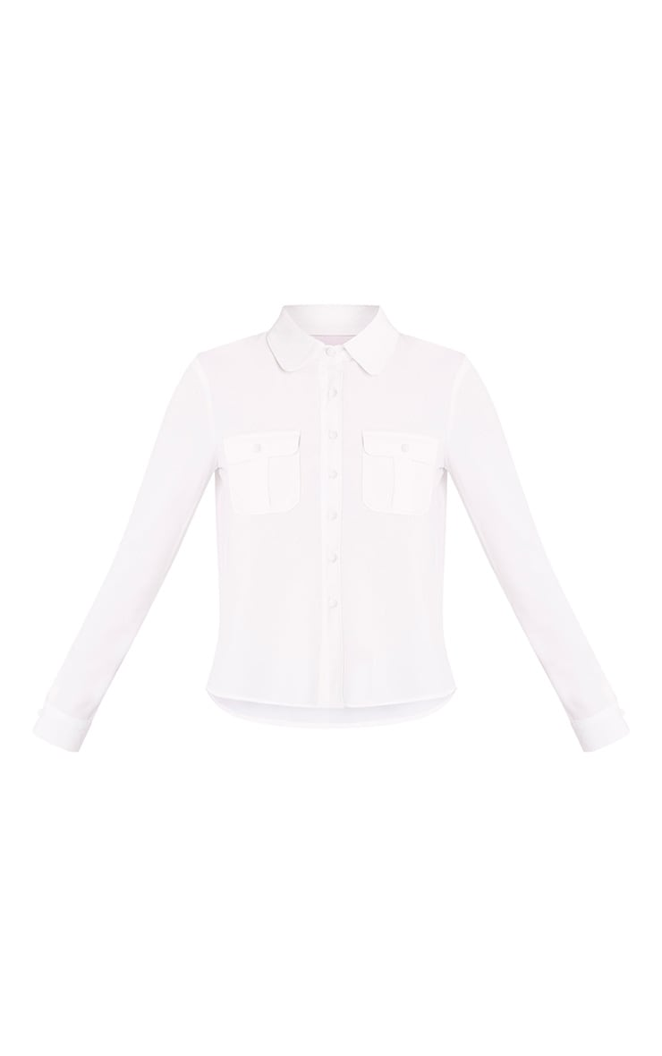 Loulou Cream Crop Long Sleeve Shirt 3
