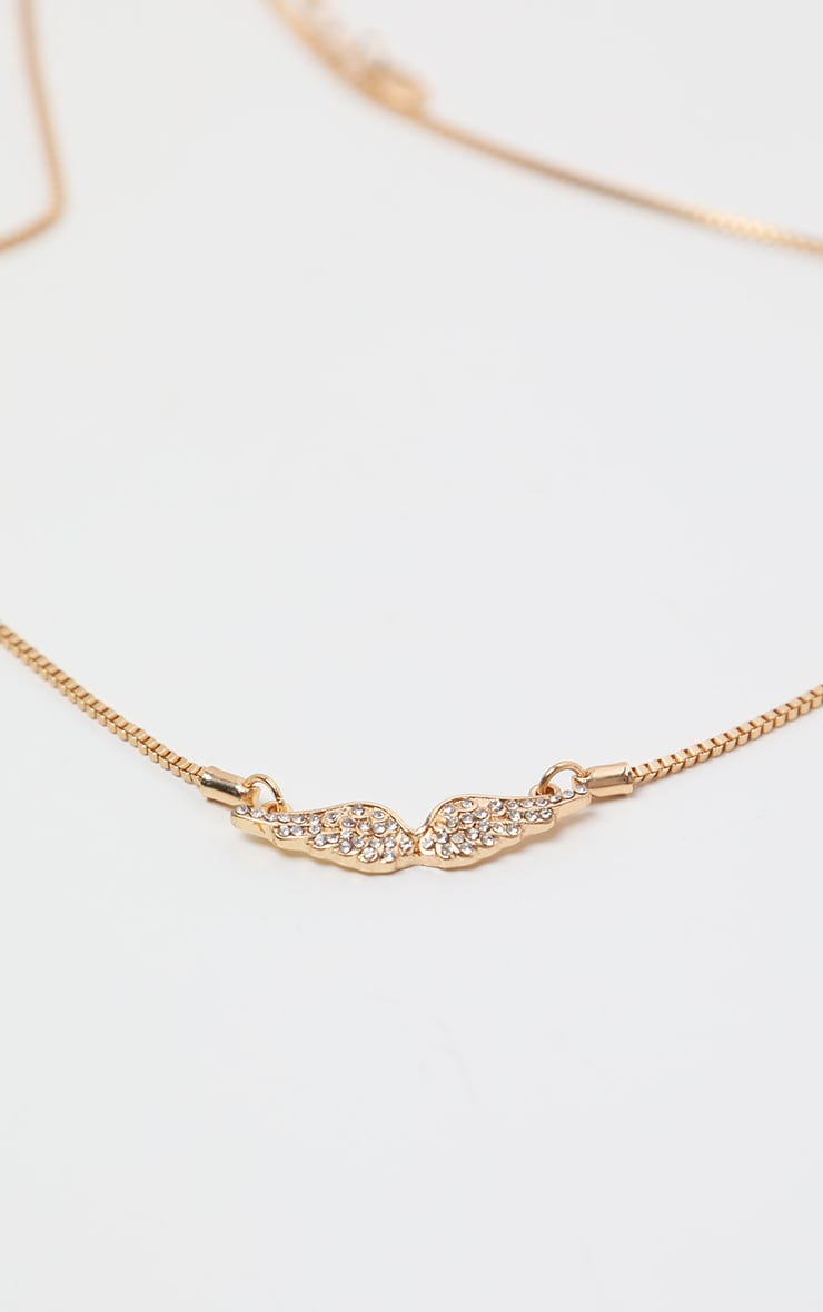 Gold Diamante Angel Wing Necklace 4