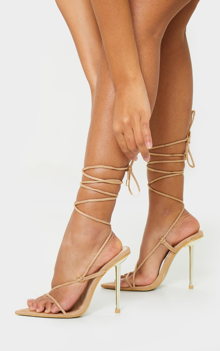 Nude Metal Heel Lace Up Faux Suede Stiletto Heels 1