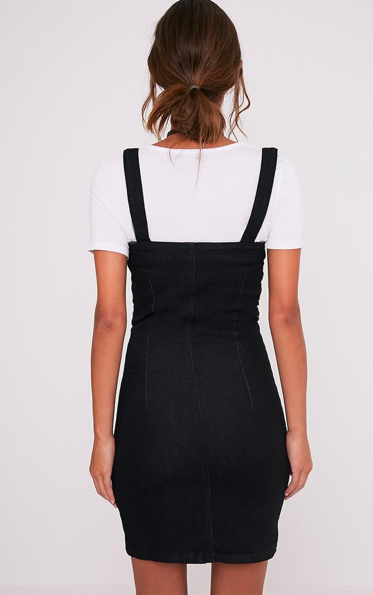 Alexae Black Denim Front Zip Fitted Body Con Dress 2