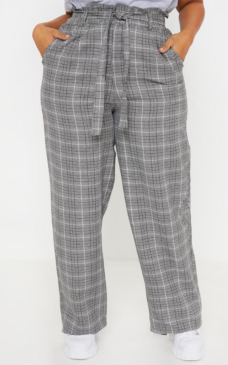 Plus Grey Paperbag Checked  Wide Leg Pants 2