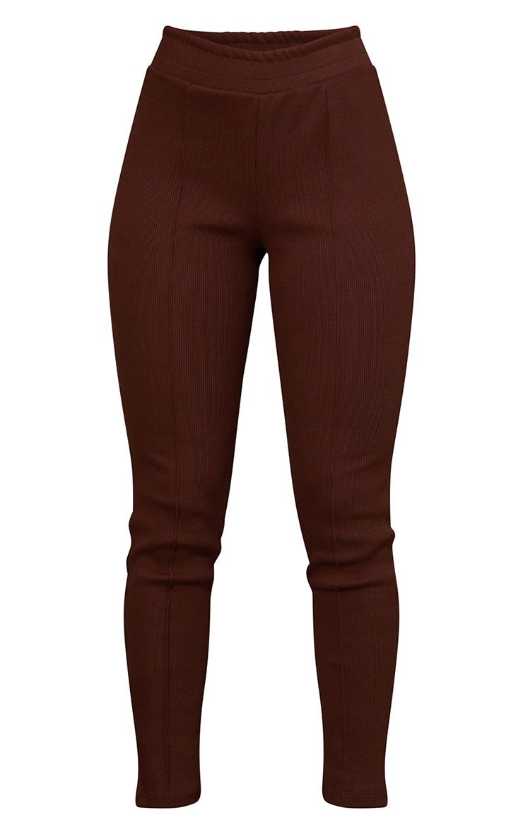 Chocolate Casual Heavy Knit Rib Seam Detail Leggings 5
