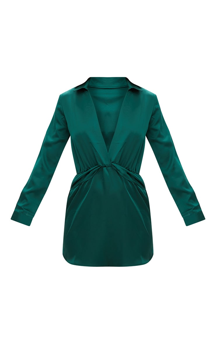 Katalea Emerald Green Twist Front Silky Shirt Dress 3