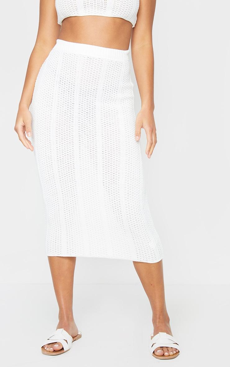 Petite White Pearl Knit Midi Skirt 2