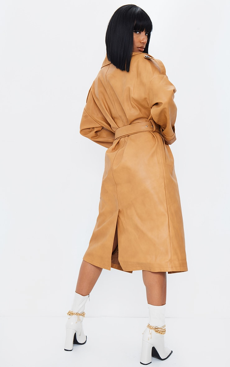 Camel Faux Leather Drop Arm Midi Trench 3