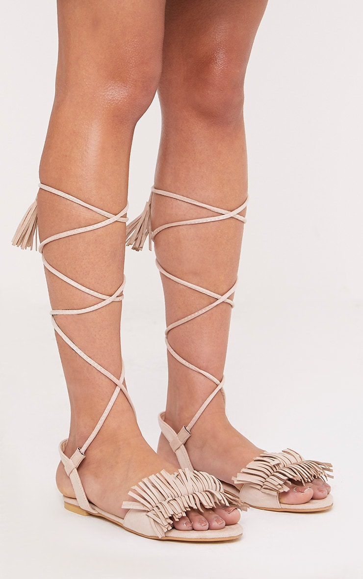 Alis Stone Tassel Lace Up Flat Sandals 2