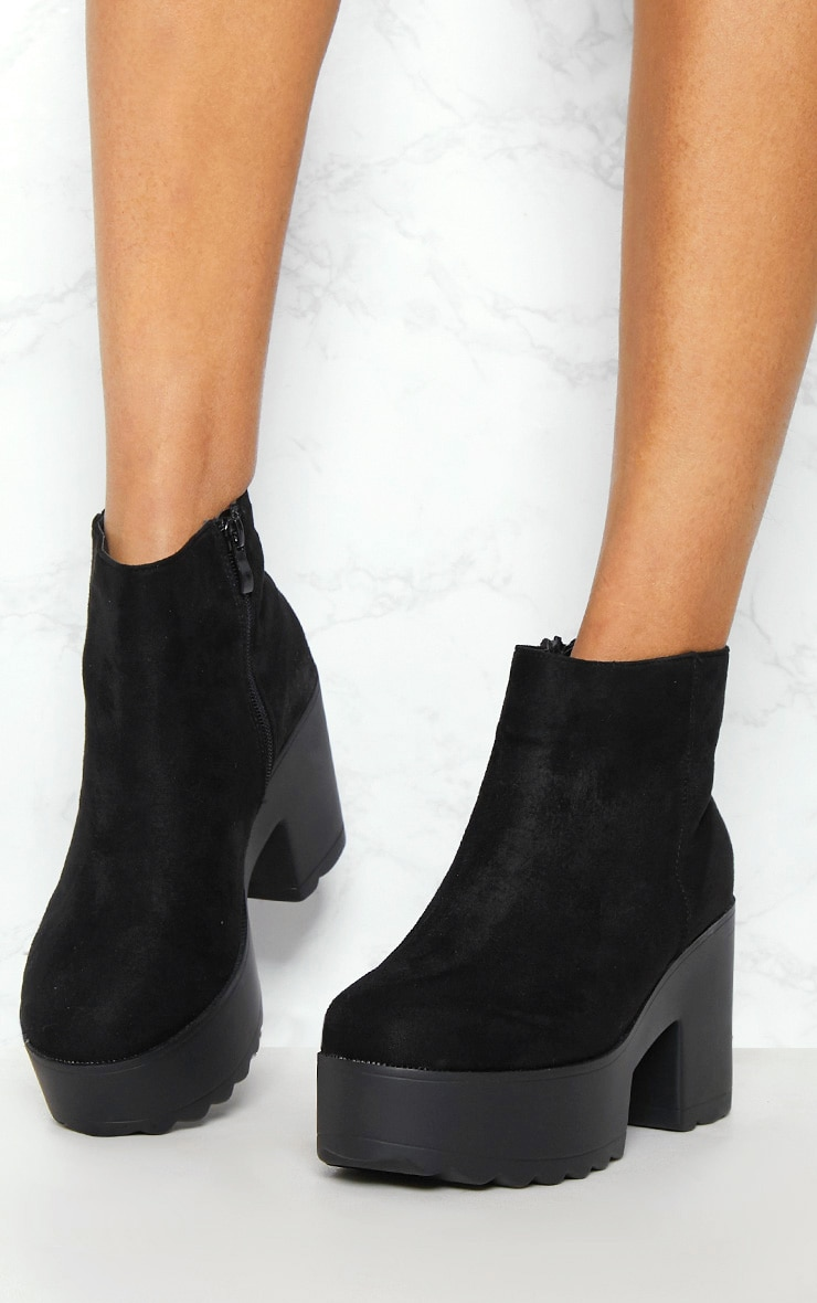Black Chunky Platform Ankle Boot 2