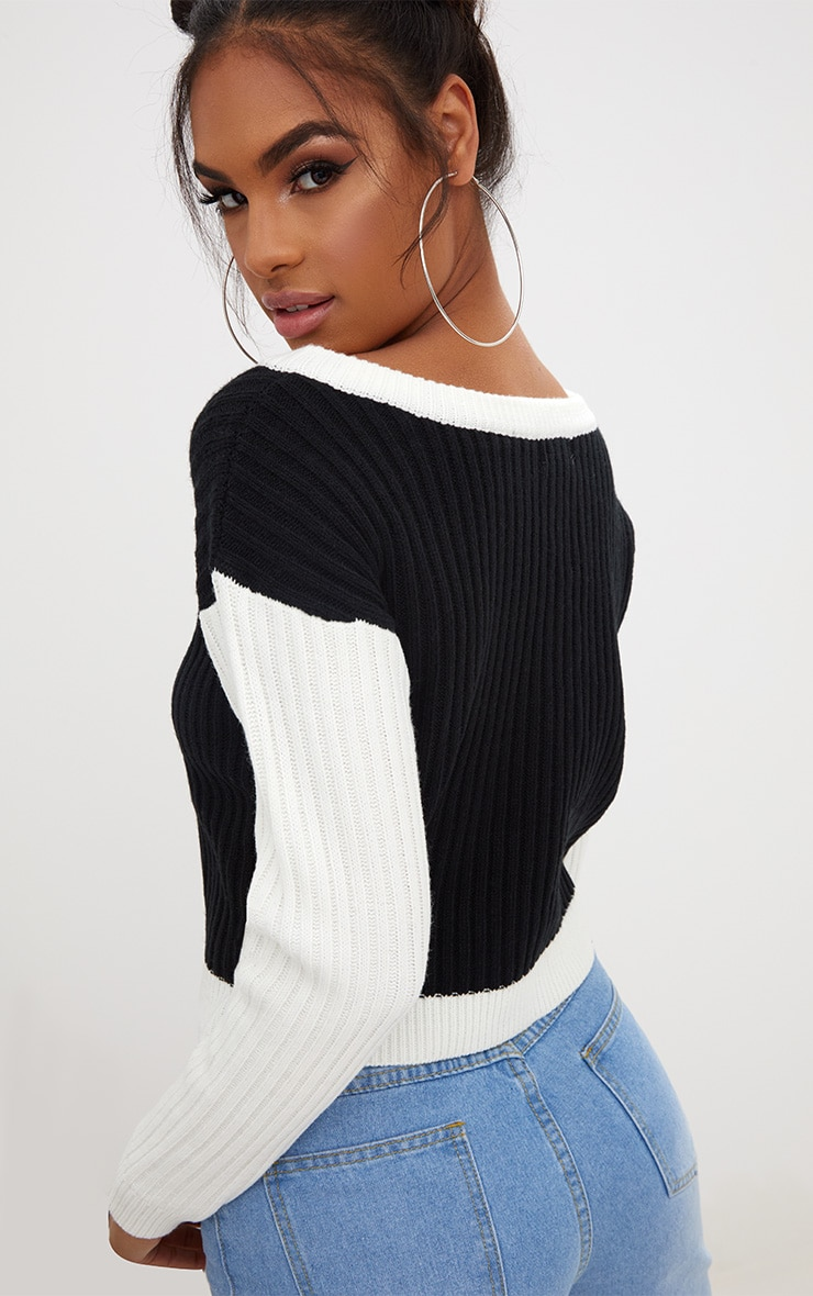 Black Lace Up Cropped Knitted Jumper  2