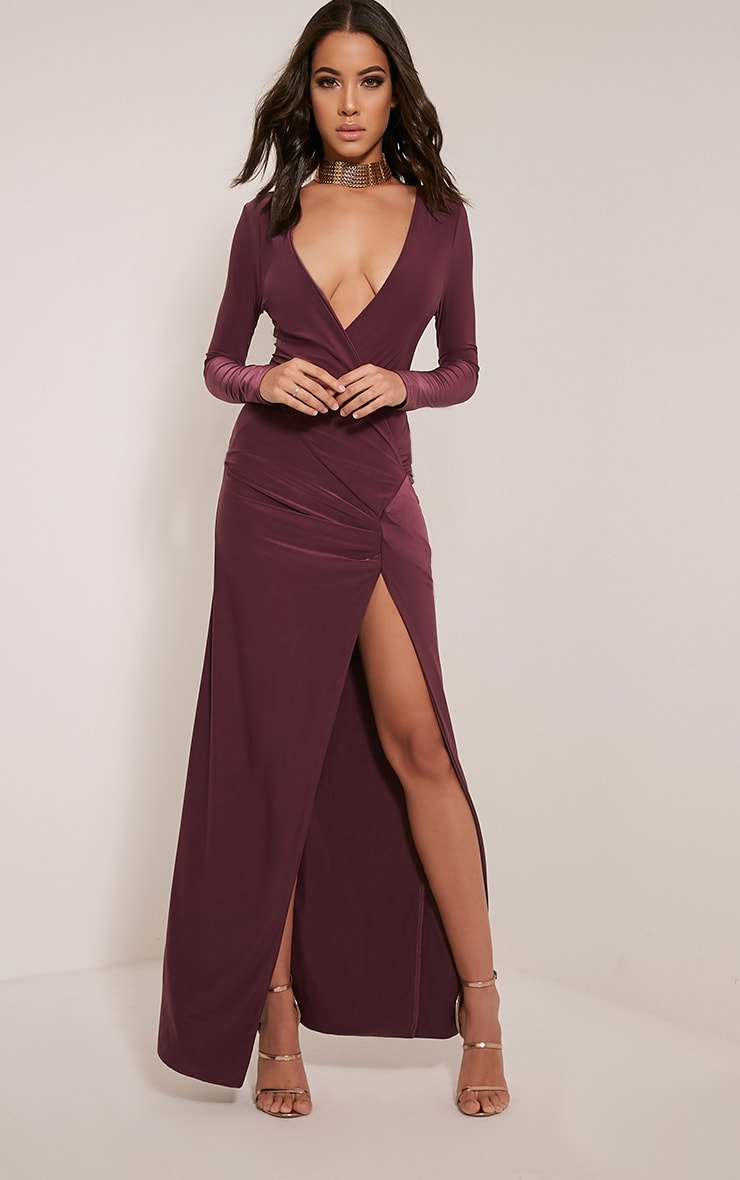 Aubreanna Aubergine Wrap Front Ruched Maxi Dress 1