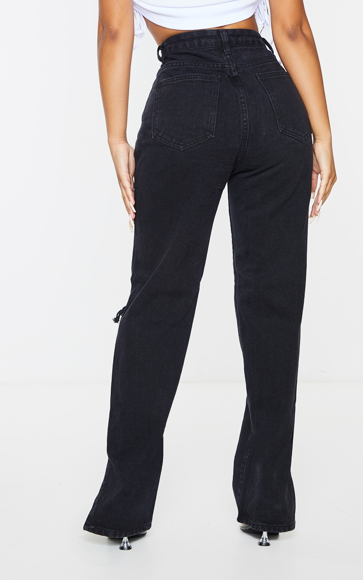 Petite Black Distressed Split Hem Jeans 3