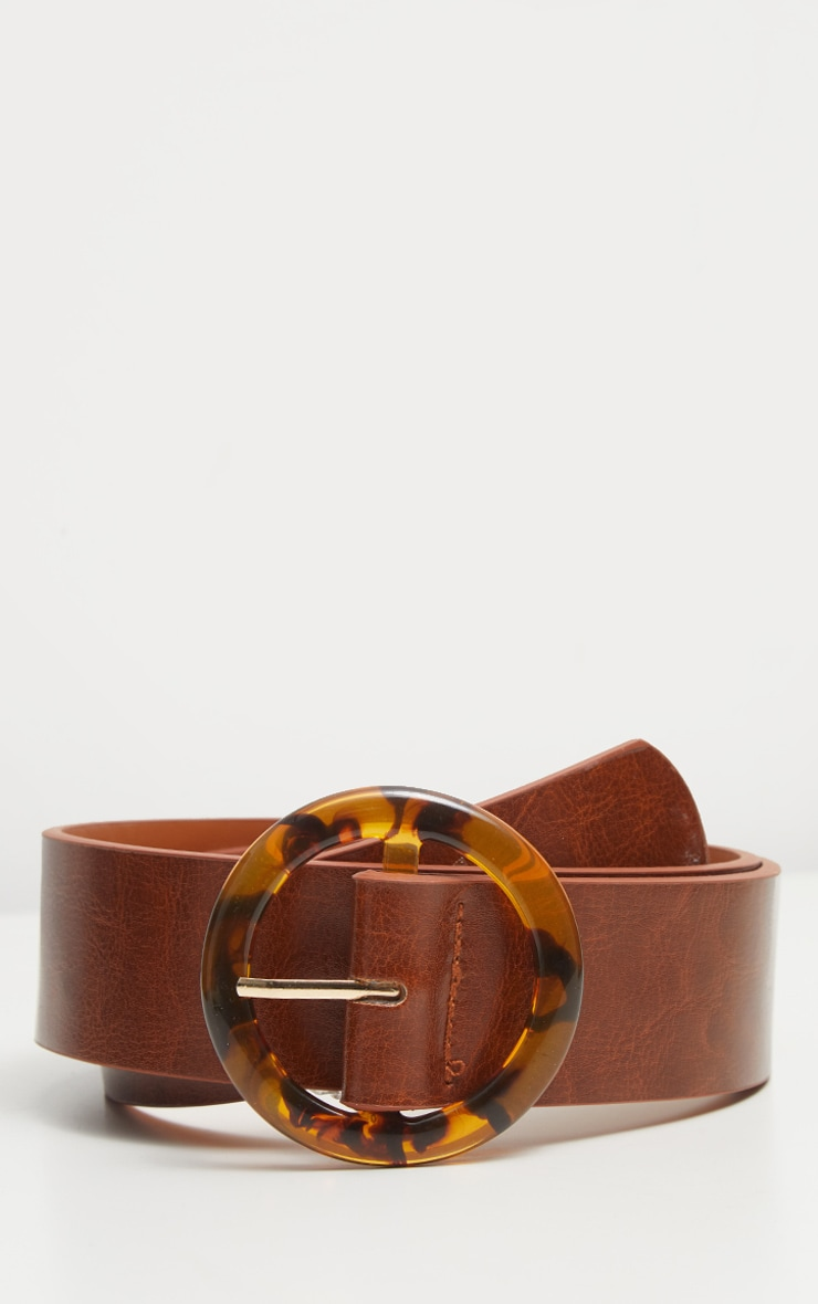 Brown Round Tortoiseshell Buckle Belt 3