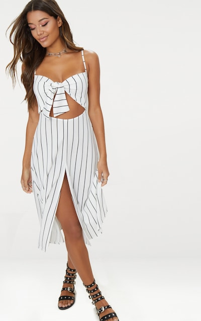 White Pinstripe Tie Front Strappy Swing Dress