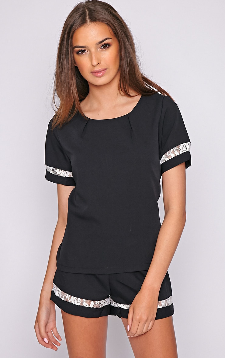 Angelina Black Boxy Top with Lace Detail 5
