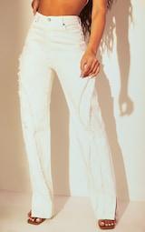 White Fray Detail Split Hem Jeans 2