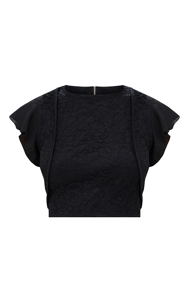 Black Lace Frill Sleeve Detail Crop Top 3