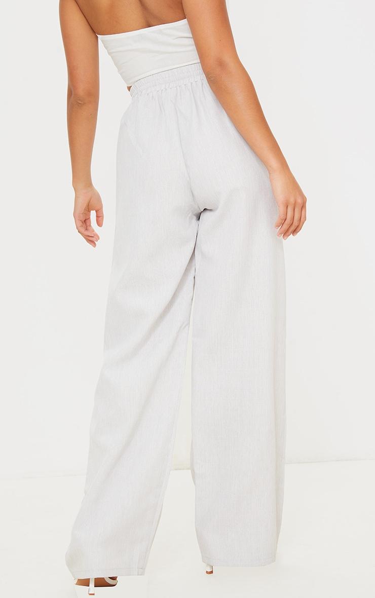 Petite Grey Casual Linen Feel Wide Leg Trousers 3