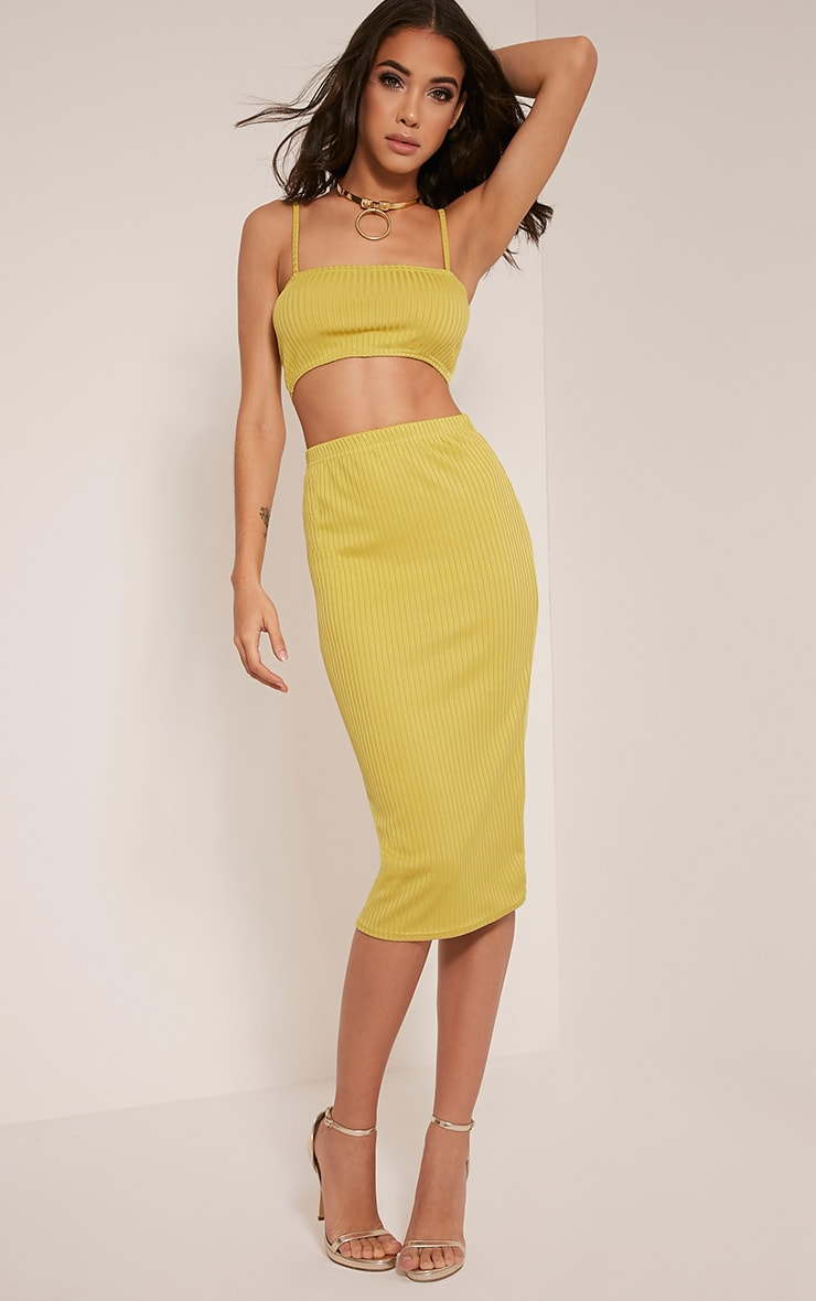 Juliana Lime Ribbed Midi Skirt 1
