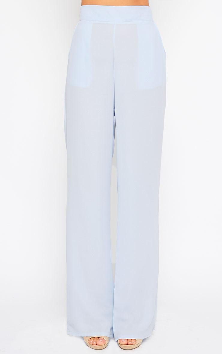 Theadora Powder Blue Chiffon Wide Leg Pants 2