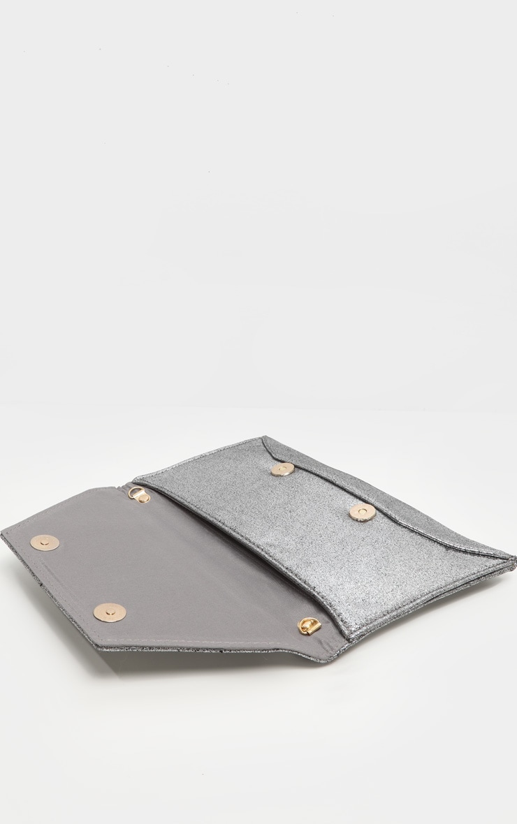 Pewter Shimmer Envelope Clutch Bag 5