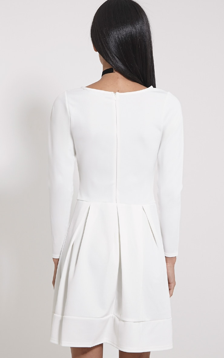 Grace Cream Box Pleat Long Sleeve Skater Dress 2
