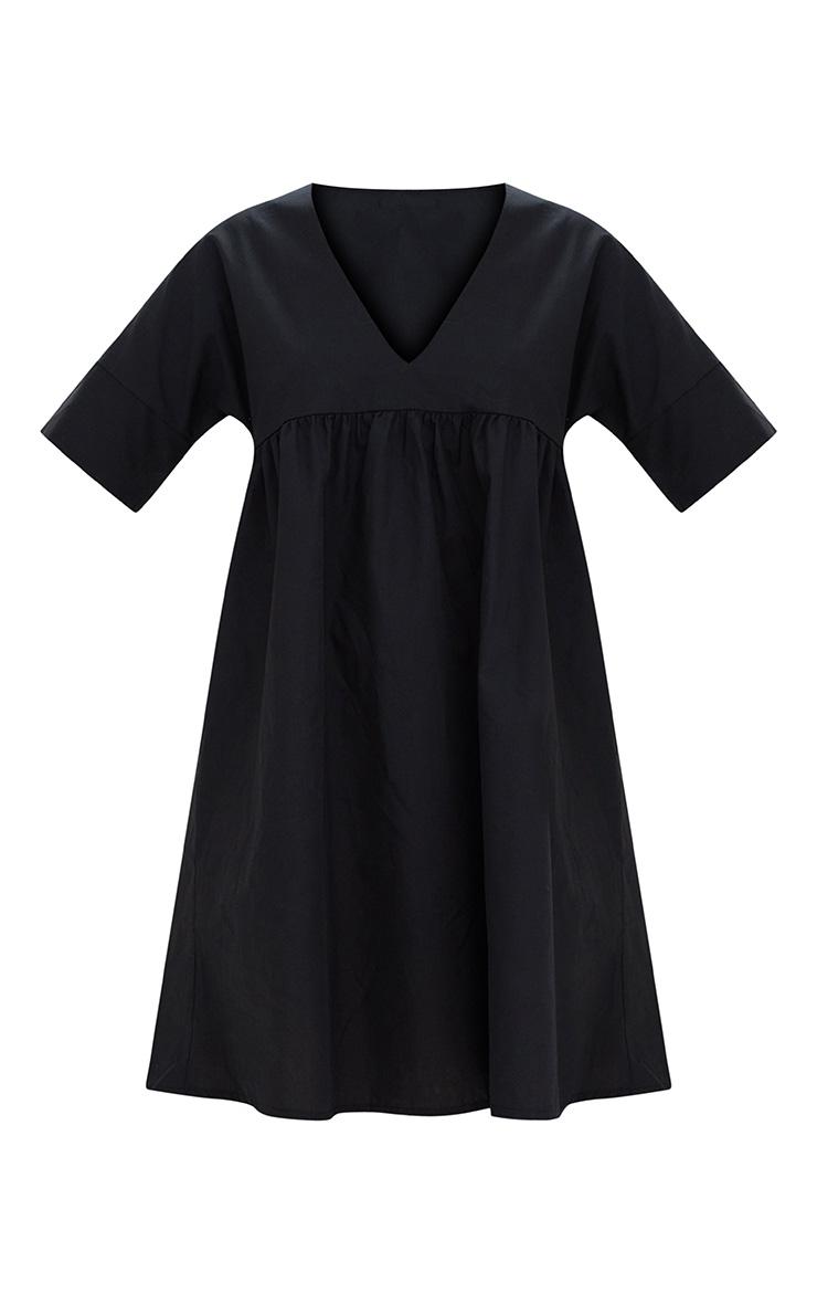 Black Poplin Smock Dress 3
