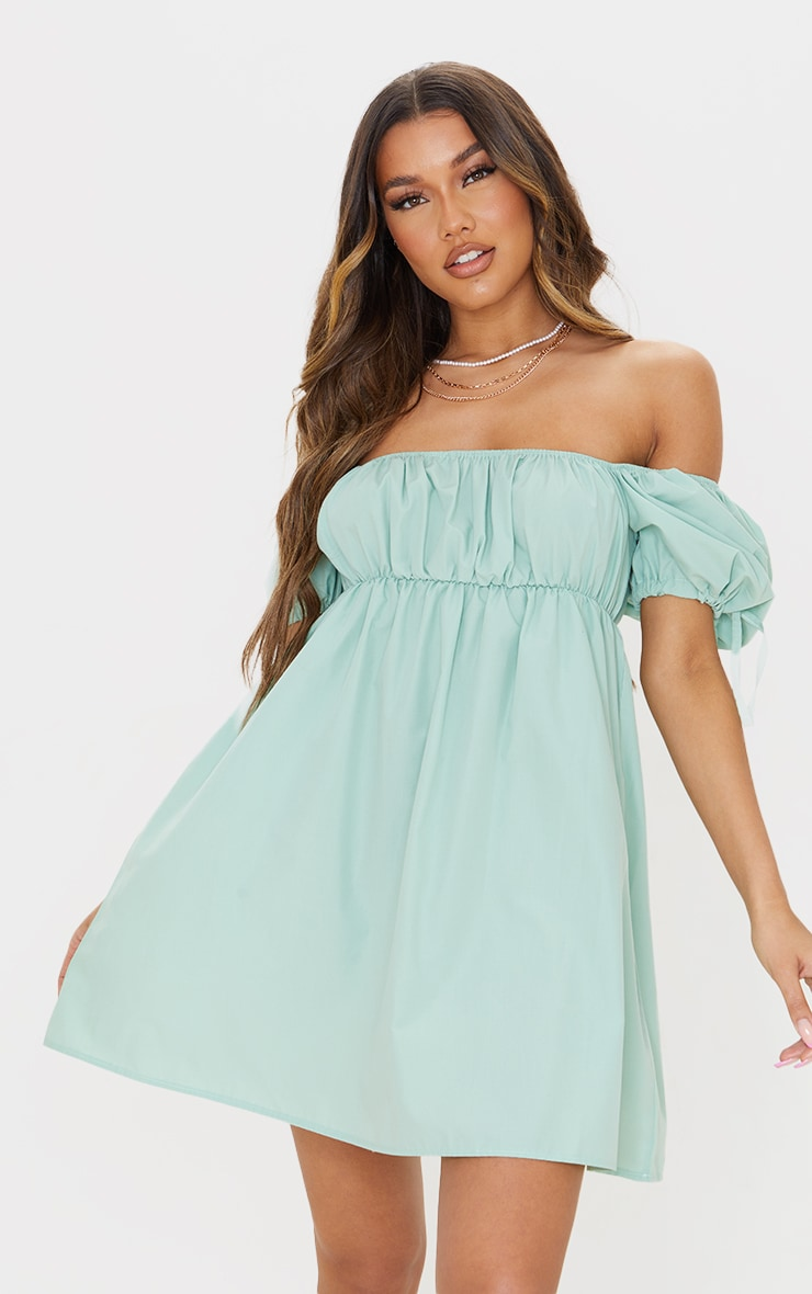 Sage Green Puff Tie Sleeve Shift Dress