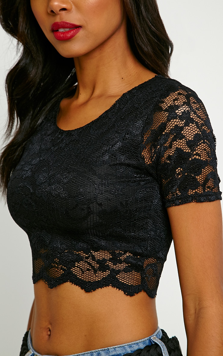 Diona Black Lace Crop Top 5
