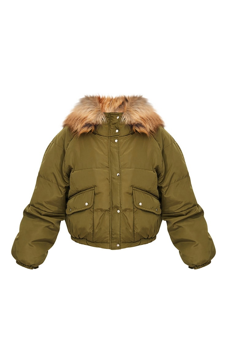 Khaki Cropped Puffer Jacket with Faux Fur Hood 3