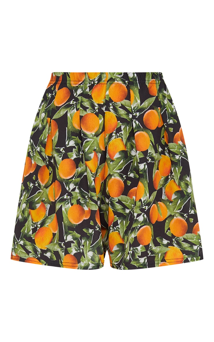 Black Orange Print Floaty Shorts 3