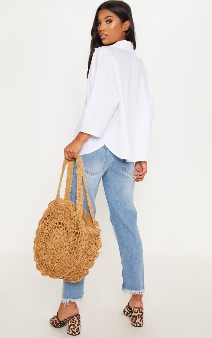Tan Crochet Shoulder Bag