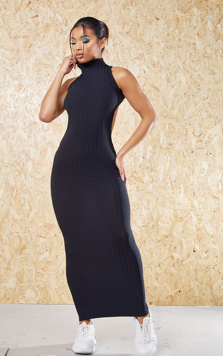 Black Recycled High Neck Cut Out Back Midi Dress 1