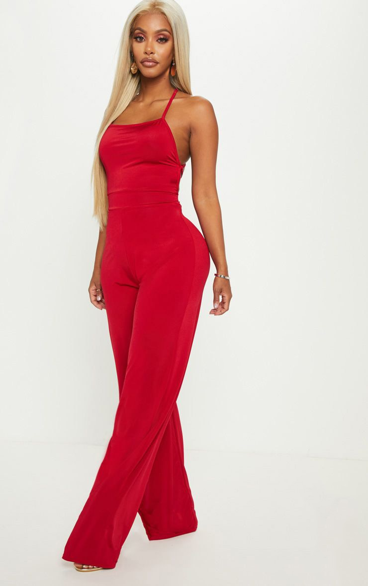 Shape Red Slinky Strappy Back Wide Leg Jumpsuit 1