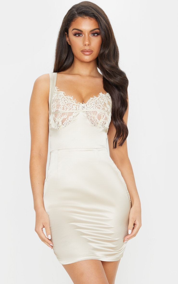 Nude Satin Lace Cup Sleeveless Bodycon Dress 1