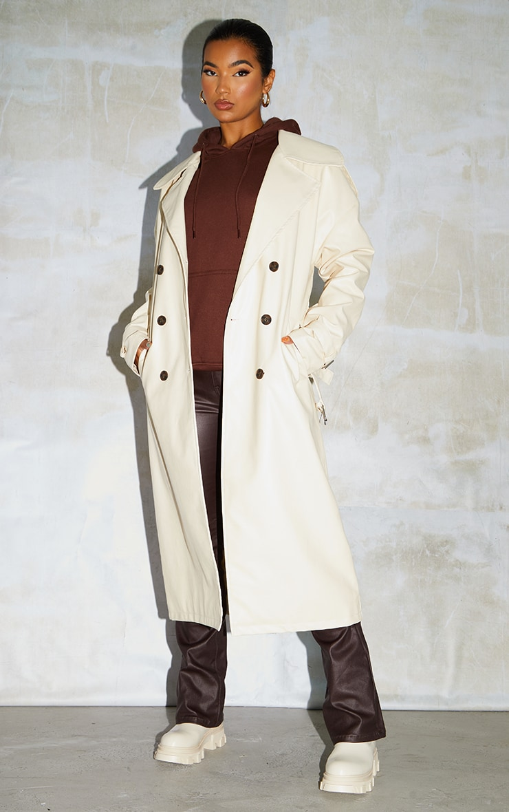Cream Faux Leather Drop Shoulder Button Down Trench 1