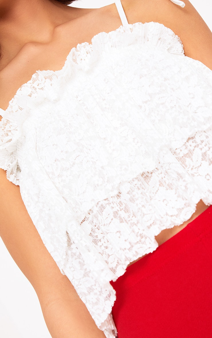 White Lace Frill Cami Top  5