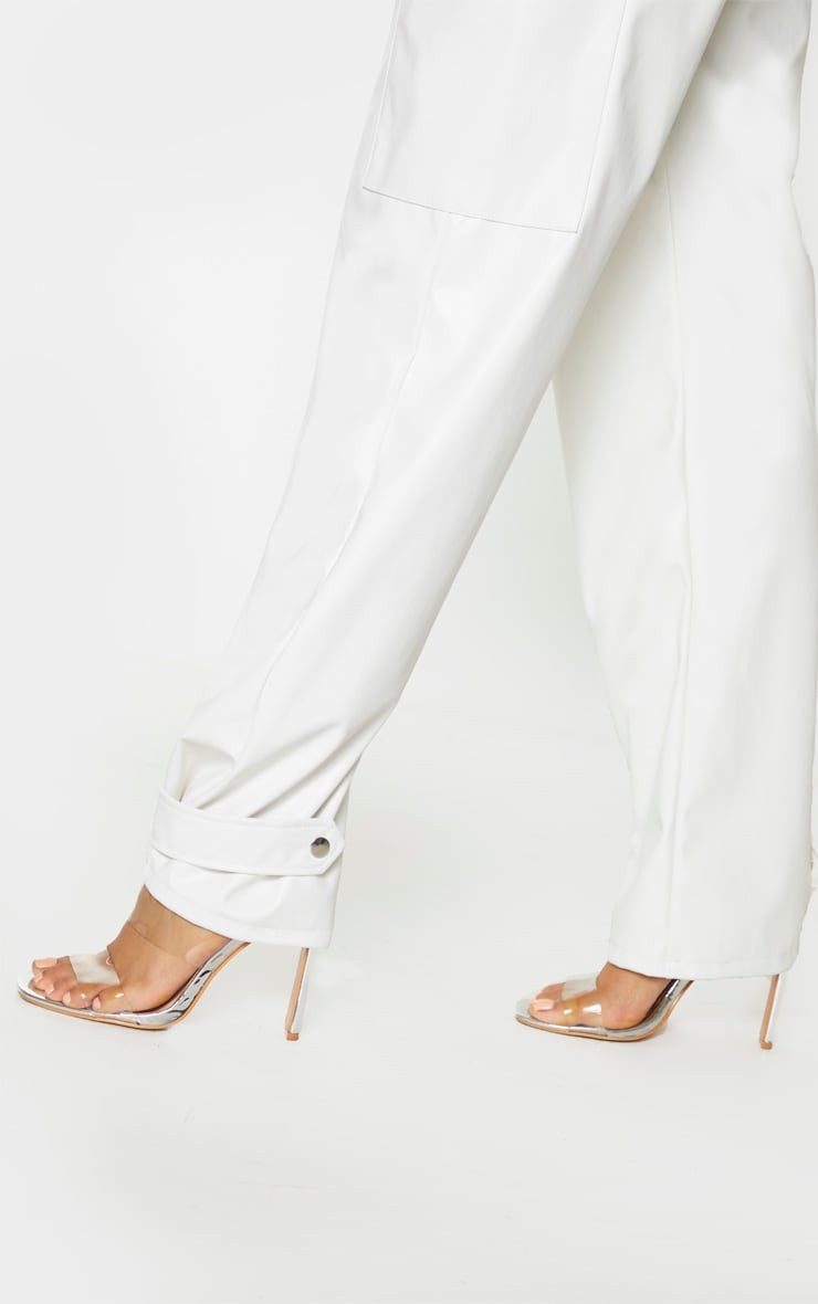 Tall Cream Ruched Buckle PU Hem Pants 4